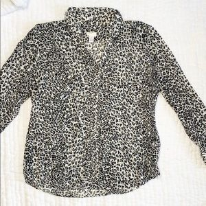 Chico's Button Up Sheer Animal Print Shirt